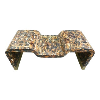 1970s Hollywood Regency Tessellated Horn and Brass Coffee Table For Sale