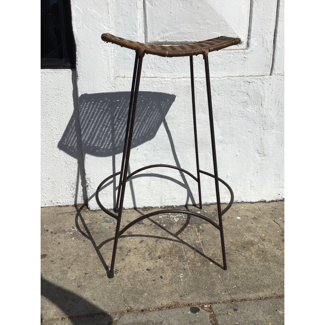 1960s 1970s Mid Century Arthur Umanoff Rattan and Iron Bar Stools- Set of 3 For Sale - Image 5 of 11