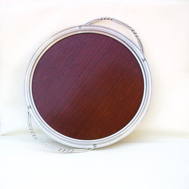 Aluminum & Faux Wood Bar Tray Serving Platter - Image 2 of 7