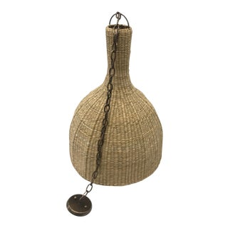 Handmade Reed Woven 'La Dome' Pendant For Sale
