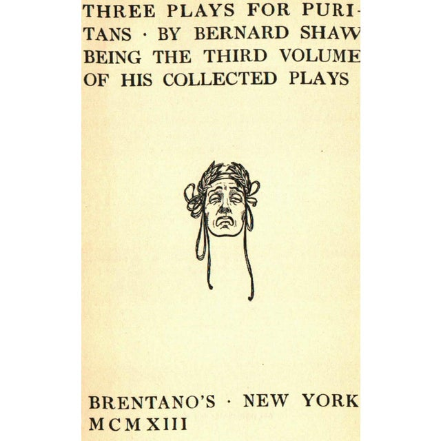 Three Plays for Puritans by Bernard Shaw. New York: Brentano's Publishing, 1913. 301 pages. Hardcover.