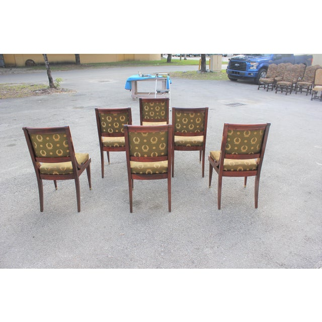 1910s Vintage French Empire Solid Mahogany Dining Chairs - Set of 6 For Sale In Miami - Image 6 of 13
