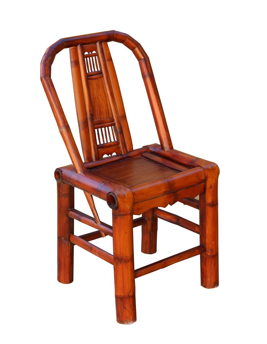 Unique Chinese Traditional Village Chair With Relax Back Support, Handmade  With Dry Bamboo Tree Painted