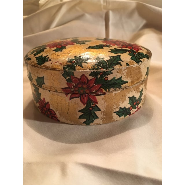 Cottage Vintage Christmas Poinsettia Paper Mache Coasters in Box For Sale - Image 3 of 7
