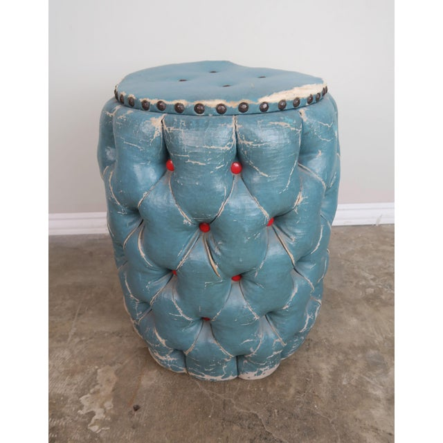 Blue Tufted Stool/Container W/ Red Tufts For Sale - Image 4 of 8