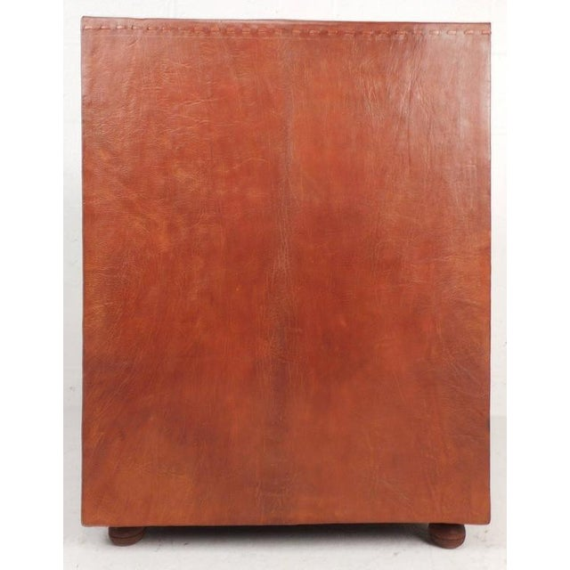 Mid-Century Modern Cordovan Leather Three-Drawer End Table For Sale - Image 5 of 9