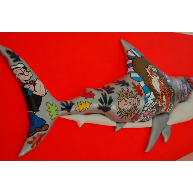 "Enrico Cecotto ""Supershark"" Contemporary Sculptural Painting For Sale - Image 10 of 10"