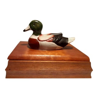 Vintage 1980s Wooden Box Mallard Duck Playing Card Box For Sale