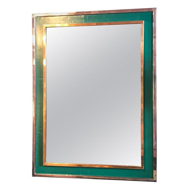 Green Mid-Century Tommaso Barbi Green Mirror in Chrome and Brass, Italy, 1970s For Sale - Image 8 of 8