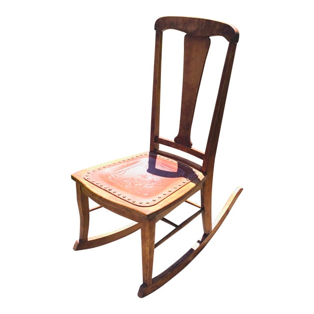 Rocking Chair With Leather and Nailhead Trim Seat For Sale