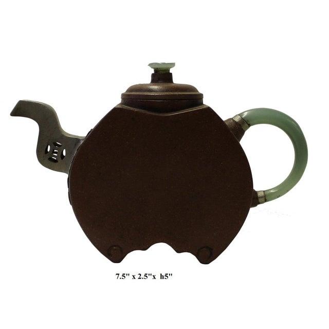 Chinese Zisha Jade Stone Handle Teapot Display Art For Sale In San Francisco - Image 6 of 6