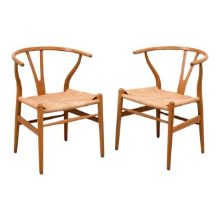 Pair of Early Hans Wegner Wishbone Chairs, Model CH24, 1950s For Sale