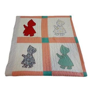 Vintage American Handmade Blanket Quilt For Sale