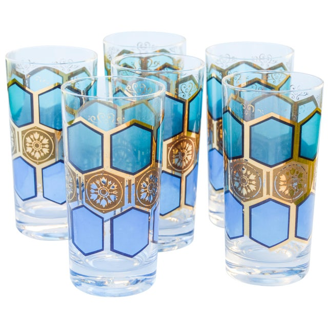 Mid 20th Century Midcentury Gold-Patterned Highballs, S/6 For Sale - Image 5 of 5