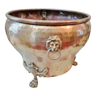 Imperial Russian Brass Hand-Hammered Lion Head Handle Jardiniere For Sale