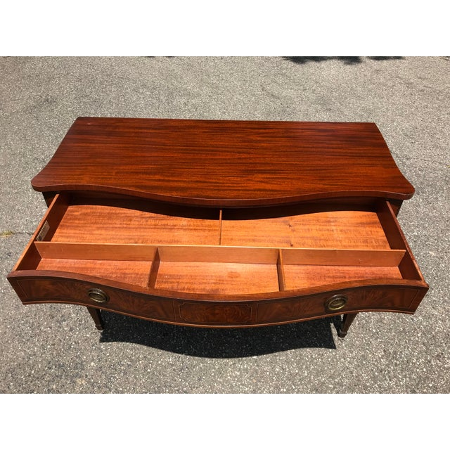 Burled Walnut Bow Front Dresser by John Widdicomb For Sale - Image 12 of 13