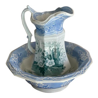 Antique Transfer-Ware Pitcher & Basin For Sale