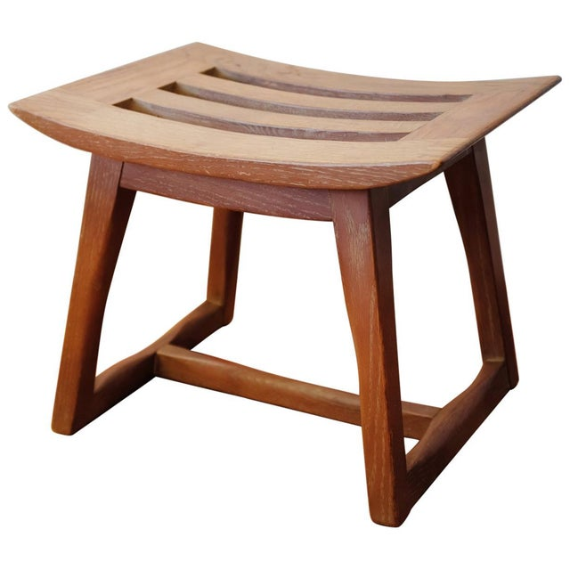 Cerused Oak Stool, 1940s For Sale - Image 11 of 11