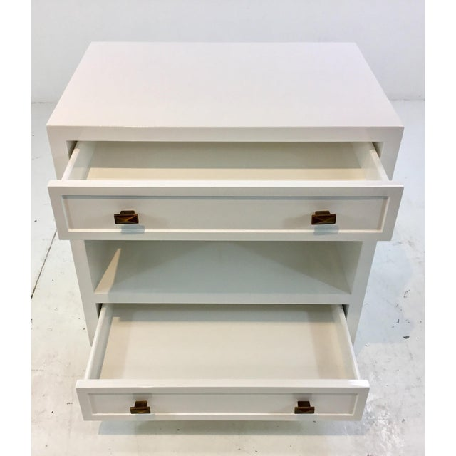 Modern Worlds Away Modern White Lacquered Warren Two Drawer Nightstand/Side Table For Sale - Image 3 of 6