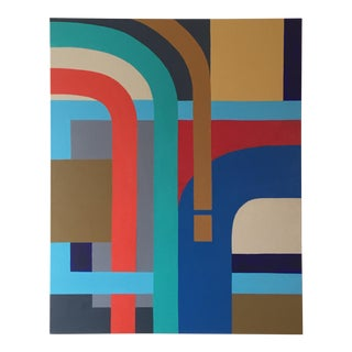 Hard Edge Abstract Signed Painting On Canvas