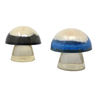 Vintage Lucite Mushroom Coral Mushroom Figures - Set of 2 For Sale