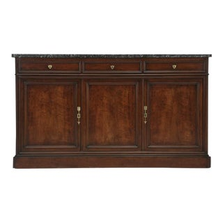 Antique French Mahogany Buffet with Thick Marble Top For Sale