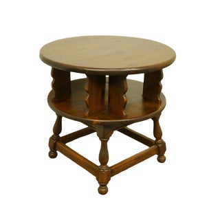 "Early American Ethan Allen Antiqued Pine Old Tavern 28"" Round Drum Table For Sale"