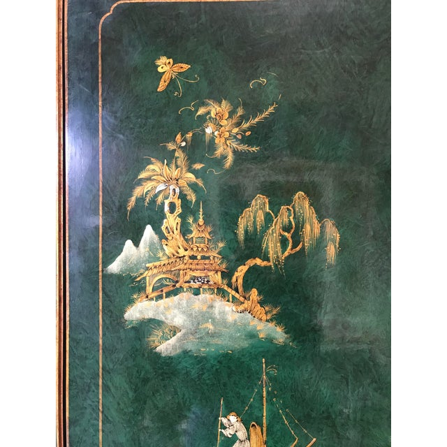 Animal Skin Chinoiserie Green Lacquer Secretary Desk China Display Cabinet For Sale - Image 7 of 13