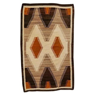 Navajo Rug W/ Rabbit Brush Yellow Crystal Pattern Circa 1930