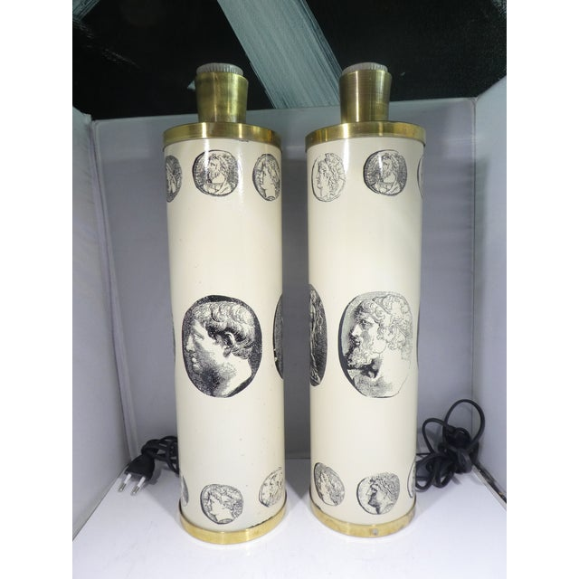 Mid Century Fornasetti Neoclassical Cameo Lamps SOLD AS FOUND in vintage condition with minor paint loss but overall in...