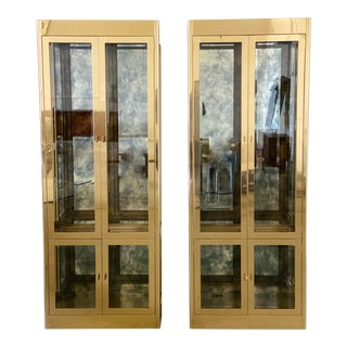1970s Art Deco Mastercraft Brass and Glass Display Cabinets-a Pair For Sale