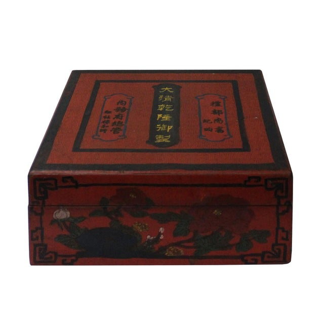Wood Chinese Distressed Red Characters Graphic Square Shape Box For Sale - Image 7 of 7