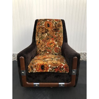 Mid Century Brown and Floral Swivel Chair Preview