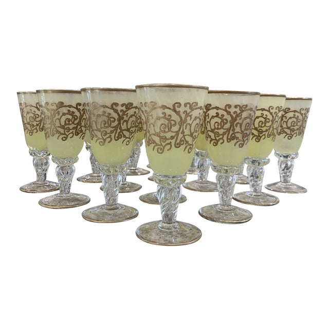 Hand-Blown Murano Chartreuse/Yellow Ombré Wine Glass Goblets - 4 Sets of 4 For Sale