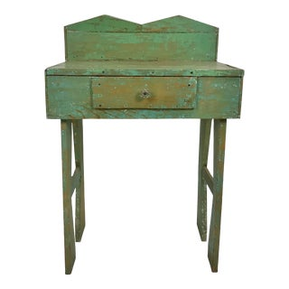 Vintage Rustic Mexican Green Painted Table For Sale