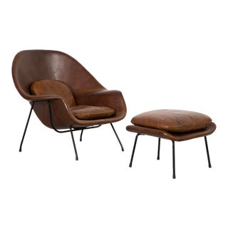 Eero Saarinen for Knoll Womb Chair + Ottoman For Sale