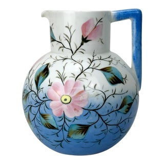 20th Century Traditional Blue & White Floral Pitcher For Sale