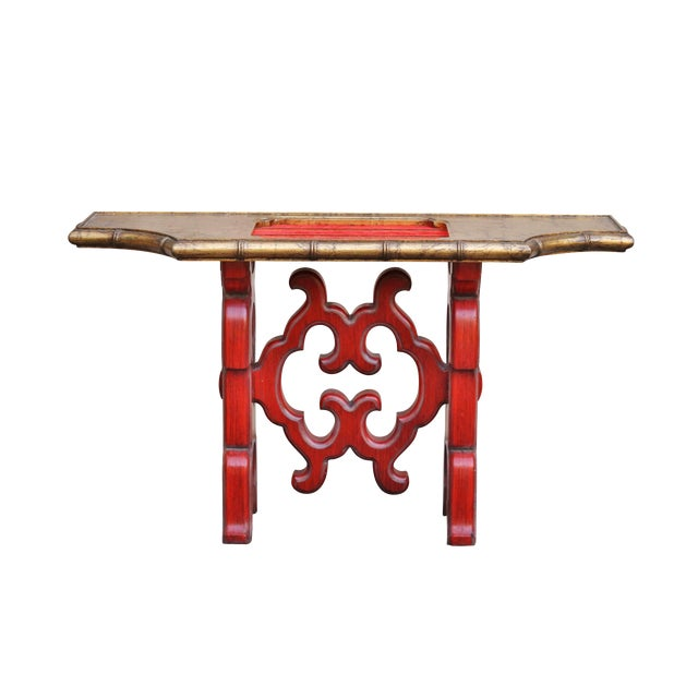 Chinoiserie Red Console Table - Image 1 of 6