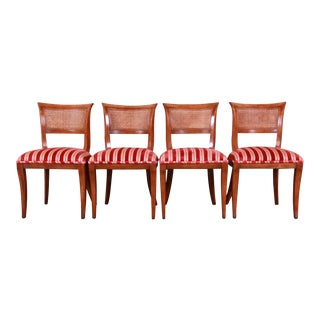 Kindel Furniture Regency Cane Back Dining Chairs, Set of Four For Sale