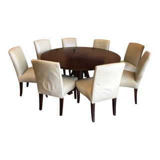 Contemporary Mahogany & Leather Dining Set