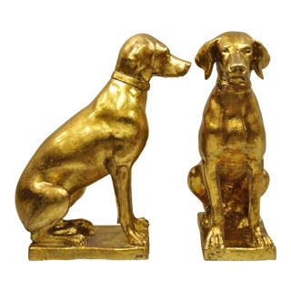 1970s Vintage Italian Terracotta Gold Leaf Labrador Dog Statues - A Pair For Sale