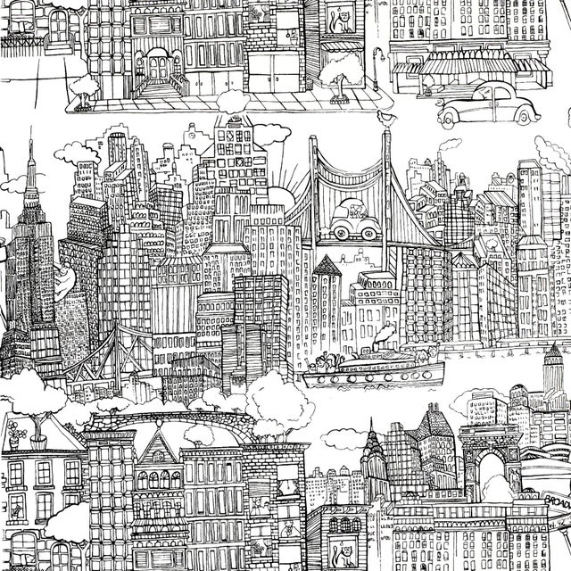 Contemporary Schumacher New York New York Wallpaper in Black on White For Sale - Image 3 of 3