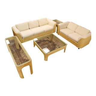 Mid Century Modern Split Reed Bamboo Set Sofa Loveseat Coffee Console Side Table - Set of 5 For Sale