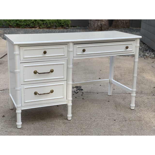 Hollywood Regency 1970s Hollywood Regency Thomasville Allegro Faux Bamboo Writing Desk For Sale - Image 3 of 12