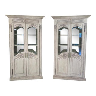 Girard Emilia Country French Curio Cabinets - A Pair