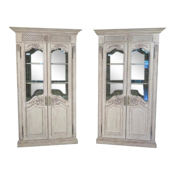 Girard Emilia Country French Curio Cabinets - A Pair | Chairish