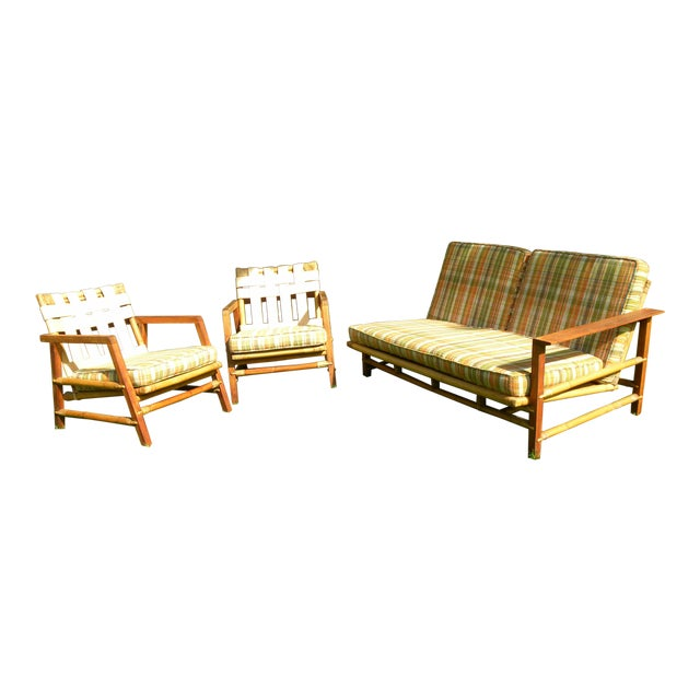 Ficks Reed Vintage Day Bed & Leather Back Chairs For Sale