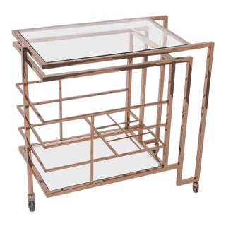 Vintage Rose Gold Brass and Glass Bar Cart