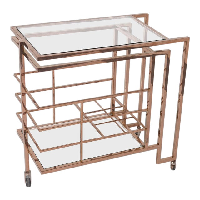 Vintage Rose Gold Brass and Glass Bar Cart For Sale