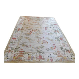 Vintage Chinoiserie Rooster Themed Tapestry Area Rug For Sale